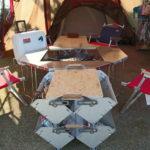スノーピークジカロテーブル &ワンアクションテーブル&シェルコン25を活用したリビングを公開します